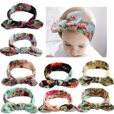 Newborn Baby Girl Printed Crossing Headband Infant Toddler Bow Hair Band Accessories