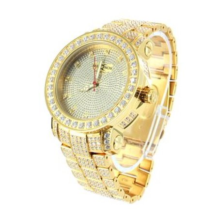 Aqua Master Fully Iced Out Gold Finish Mens Genuine Diamond Classy - Master Mens Diamond Watch