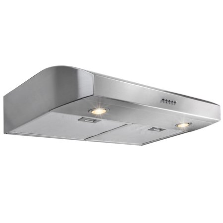 "Image of AKDY 30"" Push Button Kitchen Under Cabinet Range Hood with Aluminum Mesh Filters Stainless Steel"