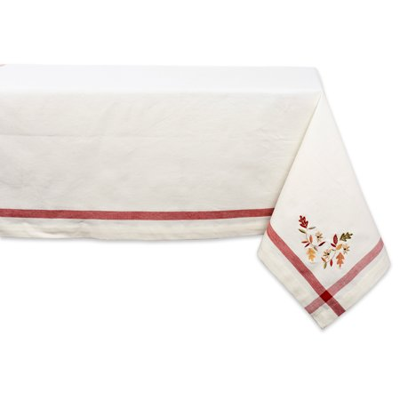 """Design Imports Formal Rectangle Embroidered Fall Leaves Corner Kitchen Tablecloth, 104"""" x 60"""", 100% Cotton, Natural"""