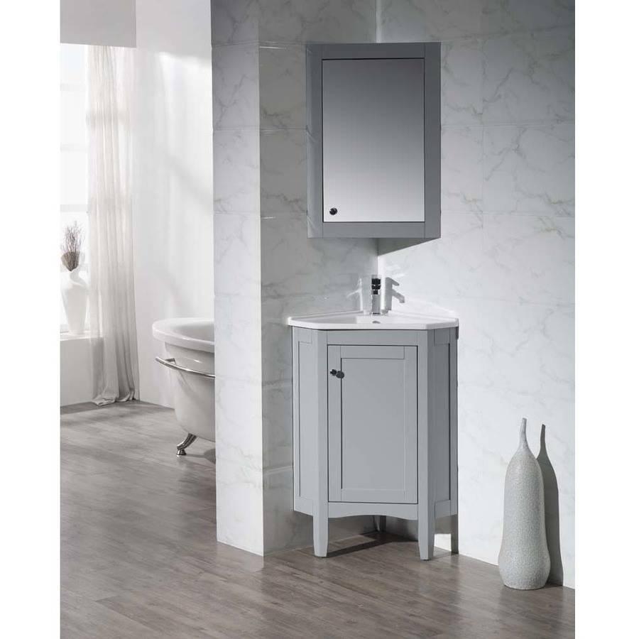 Stufurhome Monte Grey 25 Inch Corner Bathroom Vanity with Medicine Cabinet