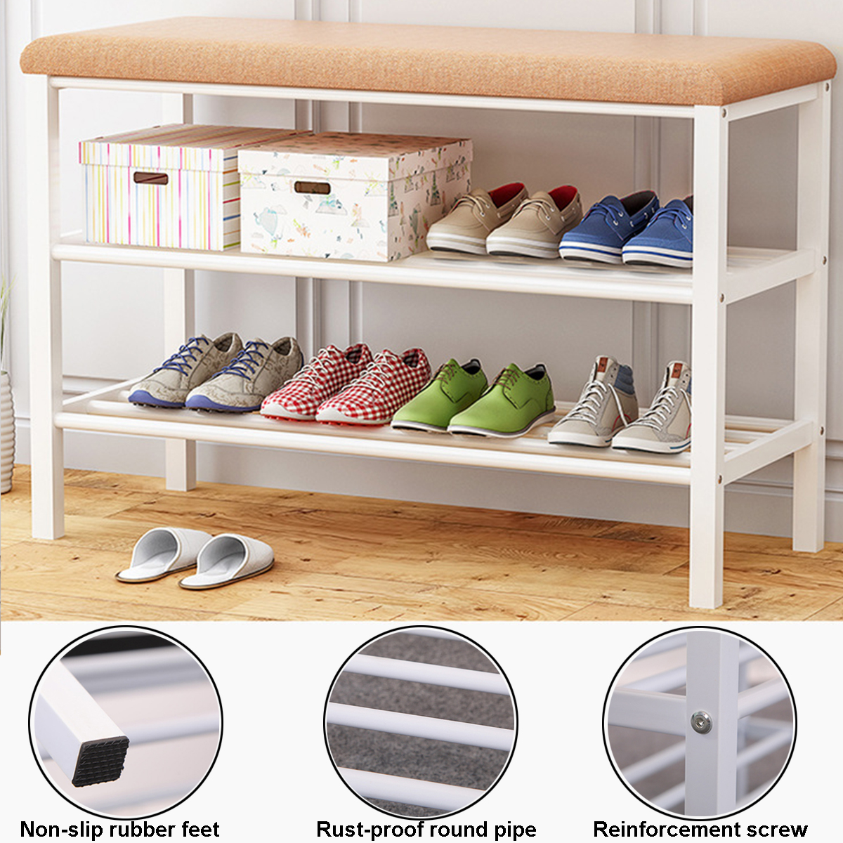 32in Multifunctional Space Saving Organization Storage Bench Shoe Rack Bench for Entryway Living Room w//Padded Seat Bedroom 2 Drawers- Black Walnut
