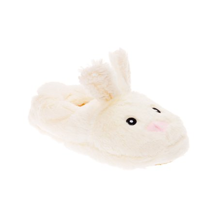 Silver Lilly Bunny Plush Animal House Slippers  w/ Memory Foam Support