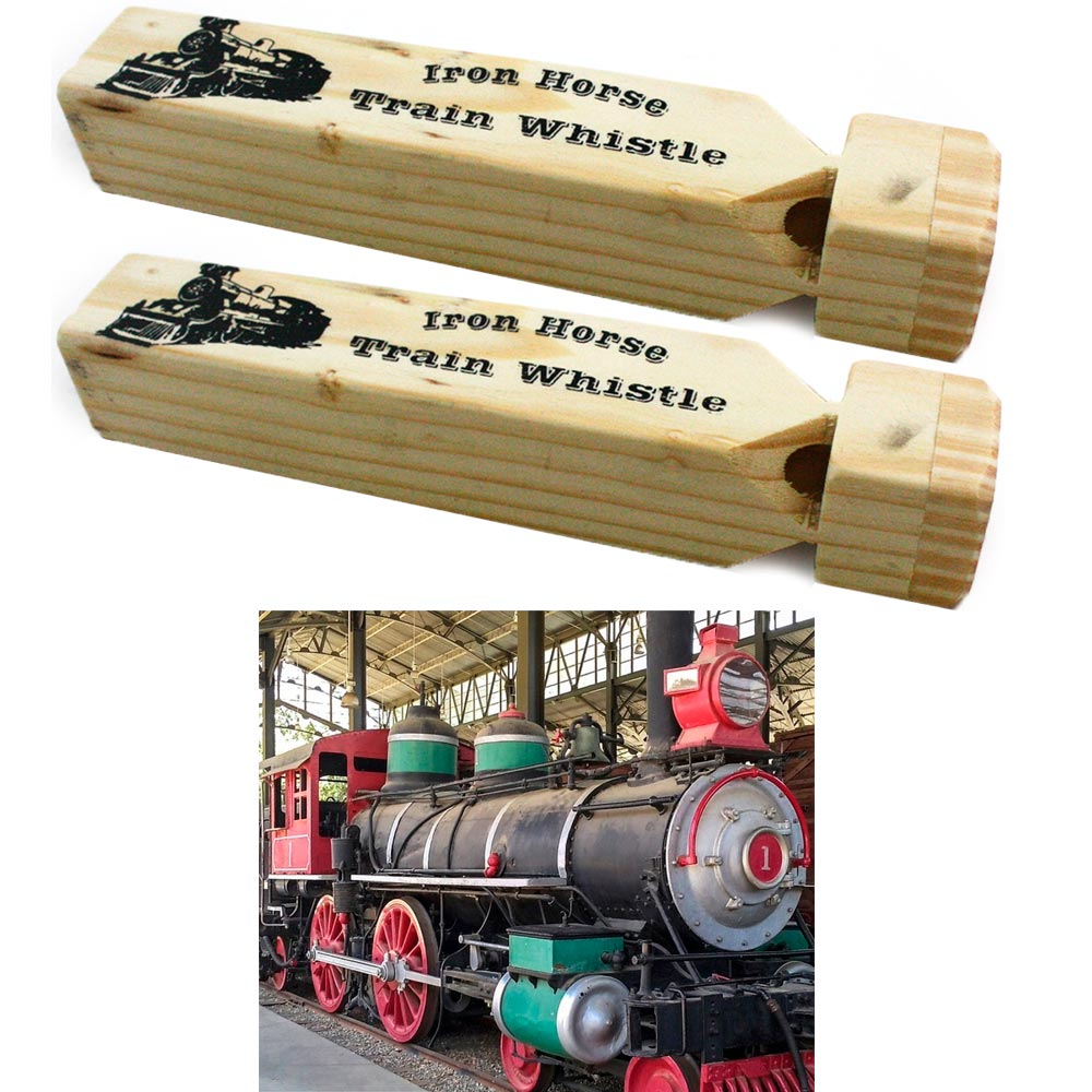 "2 Iron Horse Wooden Train Whistle Beige Kid Toy 7"" Long Train Lovers Dream Sound by KOLE IMPORTS"