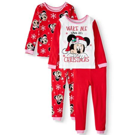 Minnie Mouse Toddler Girl Holiday Christmas Long Sleeve Pajamas, 4-Piece Set ()