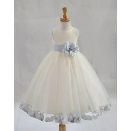 a80d30d23 Ekidsbridal Formal Poly Satin Rose Petals Tulle Ivory Flower Girl Dress  Bridesmaid Wedding Pageant Toddler Recital Easter Communion Graduation ...