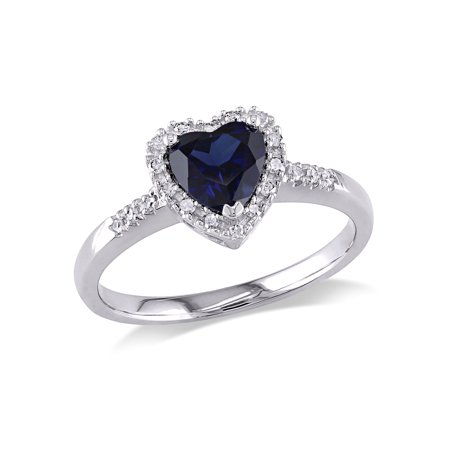 7/8 Carat T.G.W. Created Blue Sapphire and 1/10 Carat T.W. Diamond 10kt White Gold Heart Engagement Ring