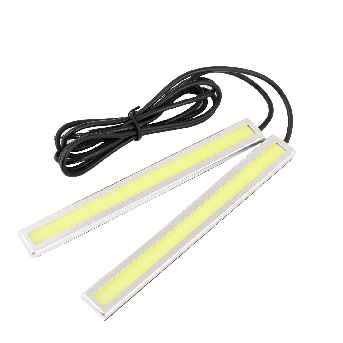 Unique Bargains 2 Pcs White 60- COB Auto Car DRL Daytime Running Light Strip Head Lamp 14cm