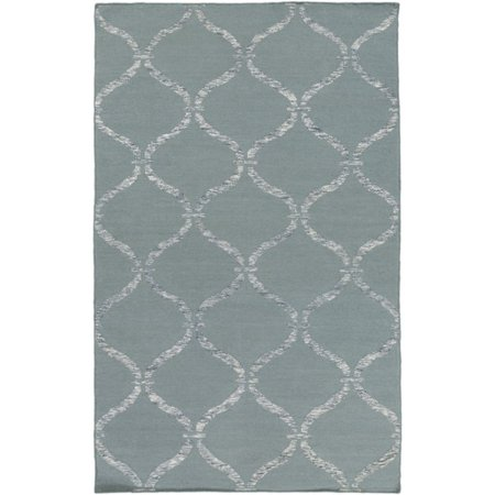 - 6' x 9' Egyptian Windows Slate Gray and Ivory White Area Throw Rug