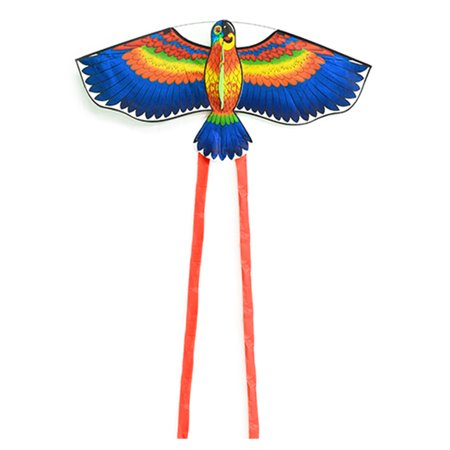 Colorful Cartoon Parrot Kite Outdoor Sport Single Line Flying Kite with Tail 50m Flying Line for Kids Adults (Kite Tails)