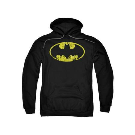 Adult Batman Hoodie (Batman DC Comics Classic Logo Distressed Adult Pull-Over)