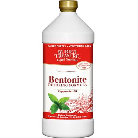 Buried Treasure Bentonite Detoxing Formula Peppermint Oil -- 32 fl (Yerba Prima Bentonite Detox 32 Ounce Glass Bottle)