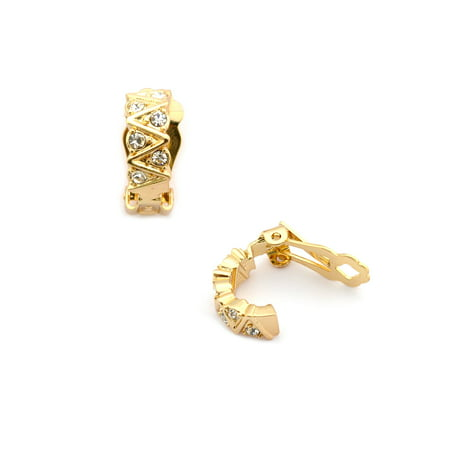 Gold Plating 15mm Rectanbel Curve Clip On Earrings