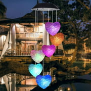 EpicGadget Heart Solar Light, Solar Heart Wind Chime Color Changing Outdoor Solar Garden Decorative Lights for Walkway Pathway Backyard Christmas Decoration Parties (Heart Shape)