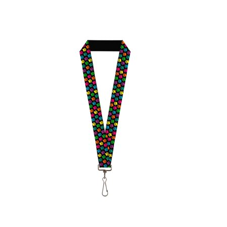 Bright Colored Dog Puppy Paw Prints All Over Lanyard - Cow Print Lanyard