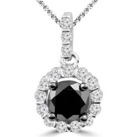 Round Black White Diamond Halo Drop Pendant in 10K White Gold With Chain, 0.875 Carat