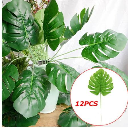 12Pcs Artificial Turtle Leaf Palm Fern Plant Tree Branch Green Wedding Decor Bush - image 2 of 7