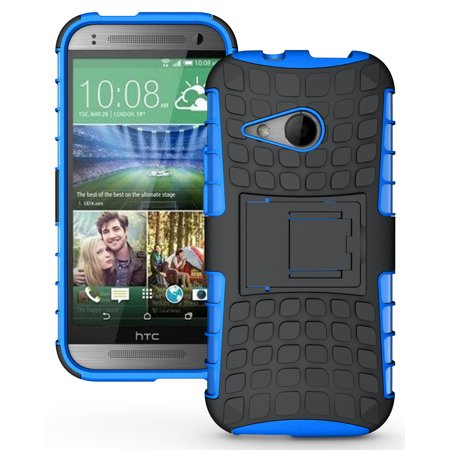 NEW NAKEDCELLPHONE BLUE GRENADE GRIP RUGGED TPU SKIN HARD CASE COVER STAND FOR HTC ONE MINI-2 PHONE (aka M8 Mini or Remix) (Htc One Mini Makeup Case)