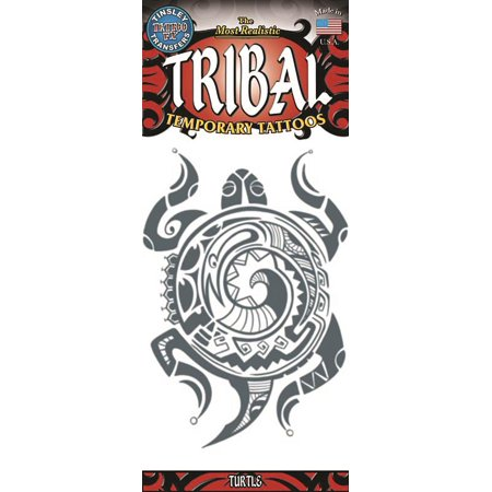 Tinsley Transfers Turtle Tribal Temporary Tattoo FX, Black White, One Size](Ninja Turtles Tattoo)