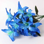 KABOER 2 Bunches Artificial Lily Silk Flower Wedding Party Home Easter Decor