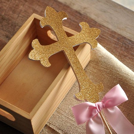 Christening Decorations. Handcrafted in 1-3 Business Days. Baptism Cross Cake Topper.](Christening Decorations)
