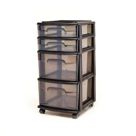 Homz 4 Medium Drawer Cart, Black w/ Tinted Drawers, w/ Wheels, Set of (Blk Print Cart)