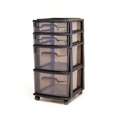 Homz 4 Medium Drawer Cart, Black w/ Tinted Drawers, w/ Wheels, Set of 1