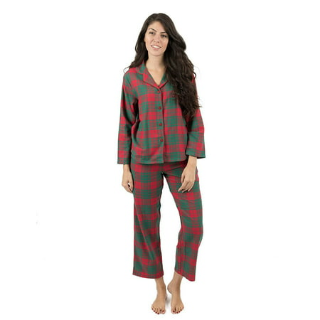 2 Piece Flannel Pajama Set (Leveret Womens Pajamas Flannel Pjs 2 Piece Christmas Pajama Set Red/Green Plaid Size)