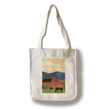 Red Barn & Horses - Lantern Press Poster (100% Cotton Tote Bag - Reusable)