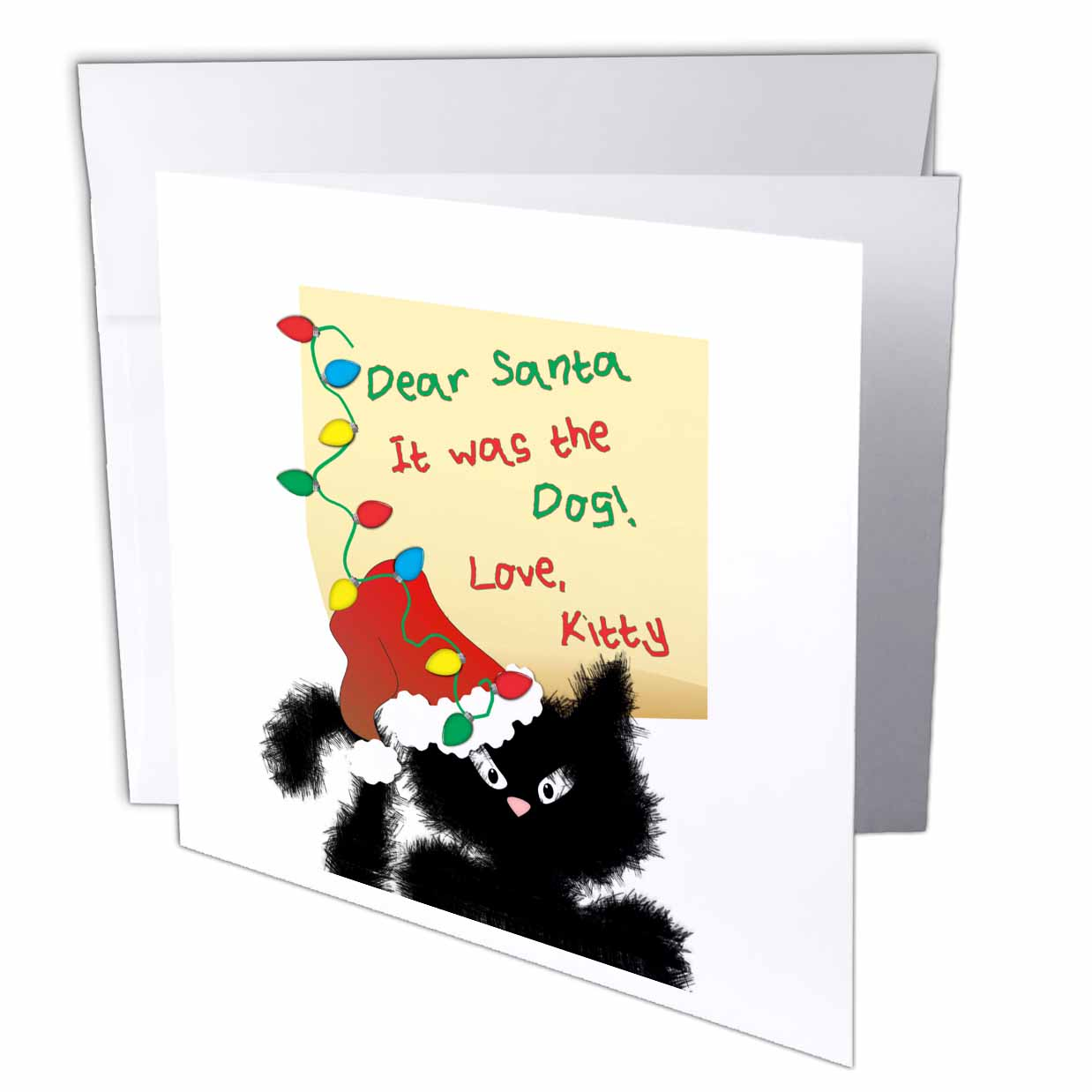 3dRose Funny Fuzzy Black Cat Dear Santa Christmas Letter, Greeting Cards, 6 x 6 inches, set of 12