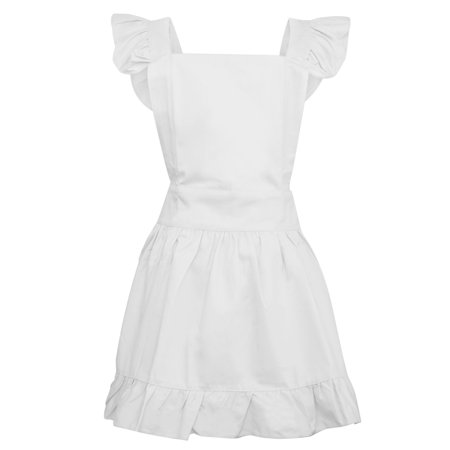 Aspire Cotton Retro Adjustable Ruffle Aprons Kitchen Cooking Adults & Kids Maid Costume-White-Adult