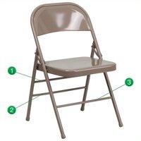 Kingfisher Lane Metal Folding Chair in Beige