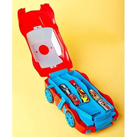 Carry & Launch Car Case with 6 Die Cast Cars, Red, Sports car-shaped carry along case that can store up to 17 1:64 die cast cars By Mighty Wheels