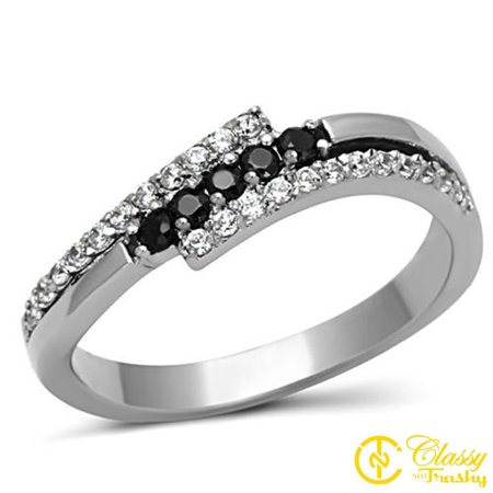 Stainless Steel Wave Ring - Classy Not Trashy® Women's Stainless Steel Black Colored Cubic Zirconia Wave Ring, Size 8