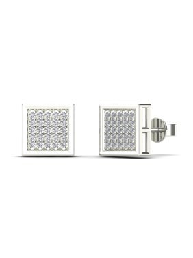 aaXia Men's 10K White Gold 1/6ct TDW Diamond Square Stud Earrings