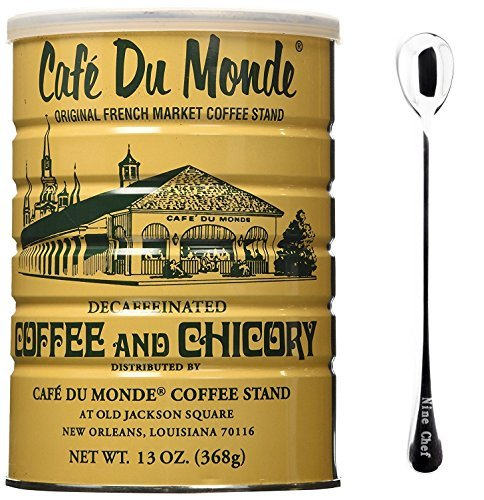 Cafe Du Monde Coffee Decaf And Chicory 13Oz (1 Pack) + One NineChef Spoon