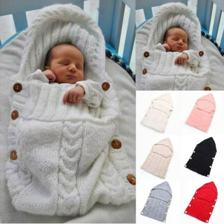 Infant Newborn Baby Knit Blanket Swaddle Wrap Sleeping Bag