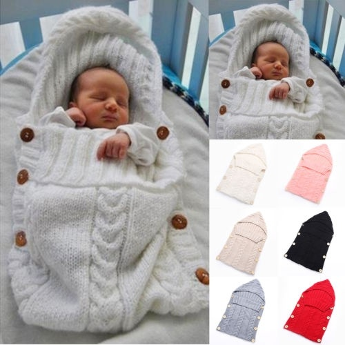 Infant Newborn Baby Knit Blanket Swaddle Wrap Sleeping Bag Photograpgy