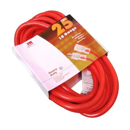 25-Ft 10 Gauge Extension Cord Indoor/Outdoor Lit Ends UL Orange
