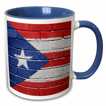 3dRose National flag of Puerto Rico painted onto a brick wall Rican - Two Tone Blue Mug,