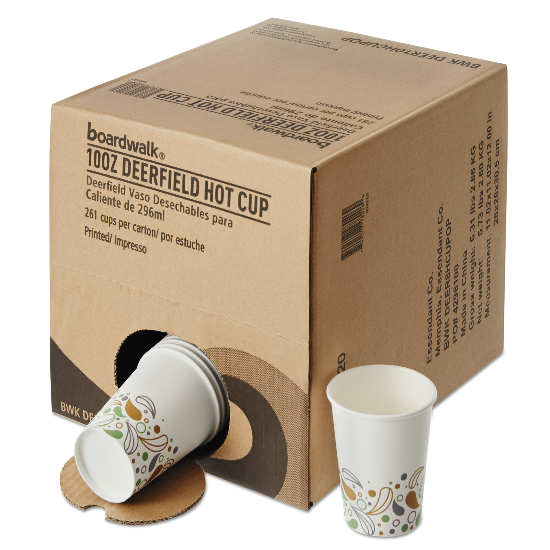 Boardwalk Convenience Pack Paper Hot Cups, 10 oz, Deerfield Print, 261/Carton -BWKDEER10HCUPOP
