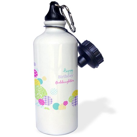 3Drose Happy Birthday Goddaughter   Modern Colorful Dots Pattern On White  Sports Water Bottle  21Oz