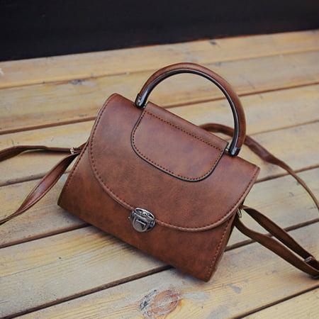 Vintage Women PU Leather Mini Handbag Korean Style Tote Shoulder Bag Crossbody Bag - Dark Brown