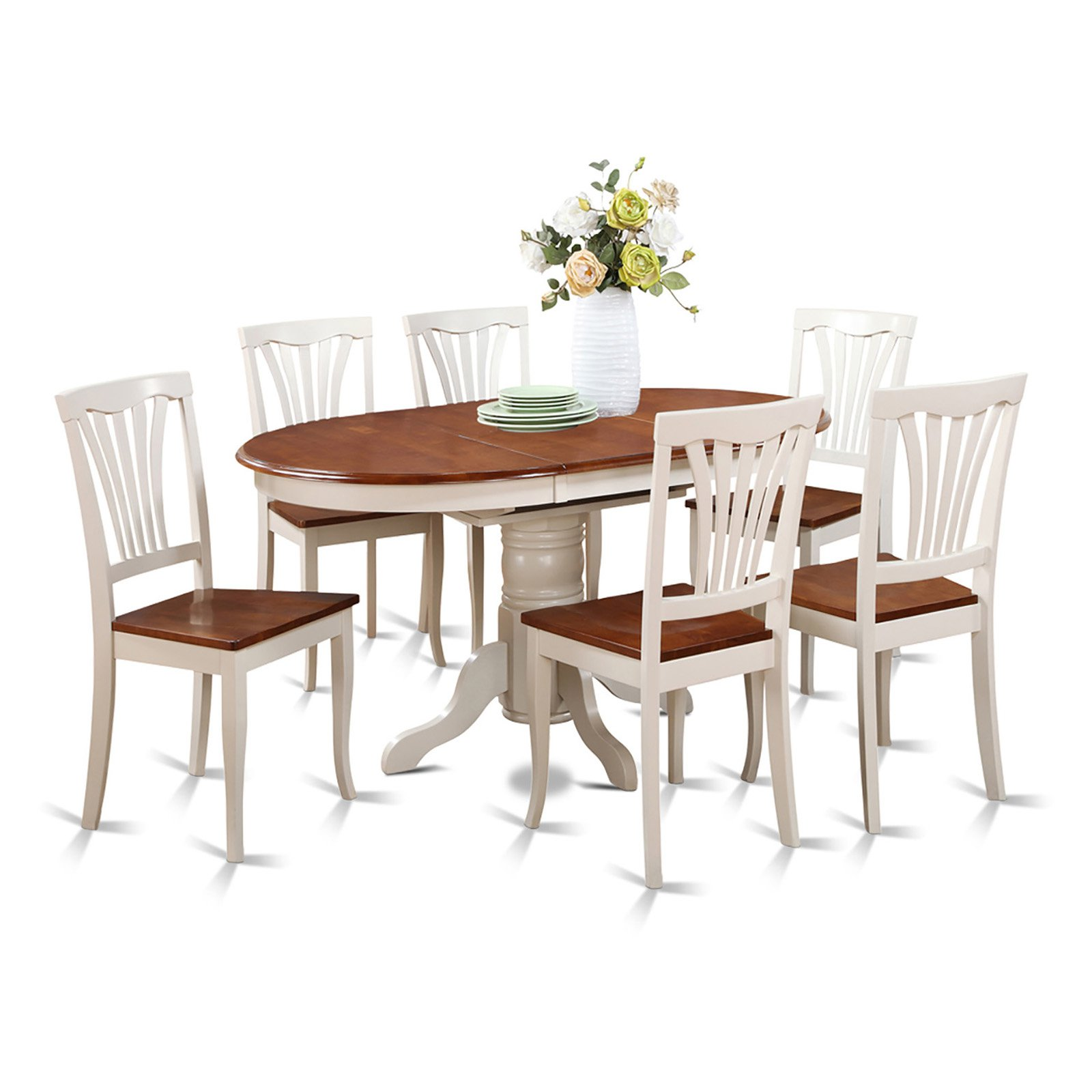 East West Furniture Avon 7 Piece Oval Pedestal Dining Table Set In White  And Cherry