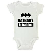 "Funny Boys Batman Toddler Shirt Onesie ""Batbaby In Training"" Funny Threadz Kids Toddler T2 T-shirt, White"