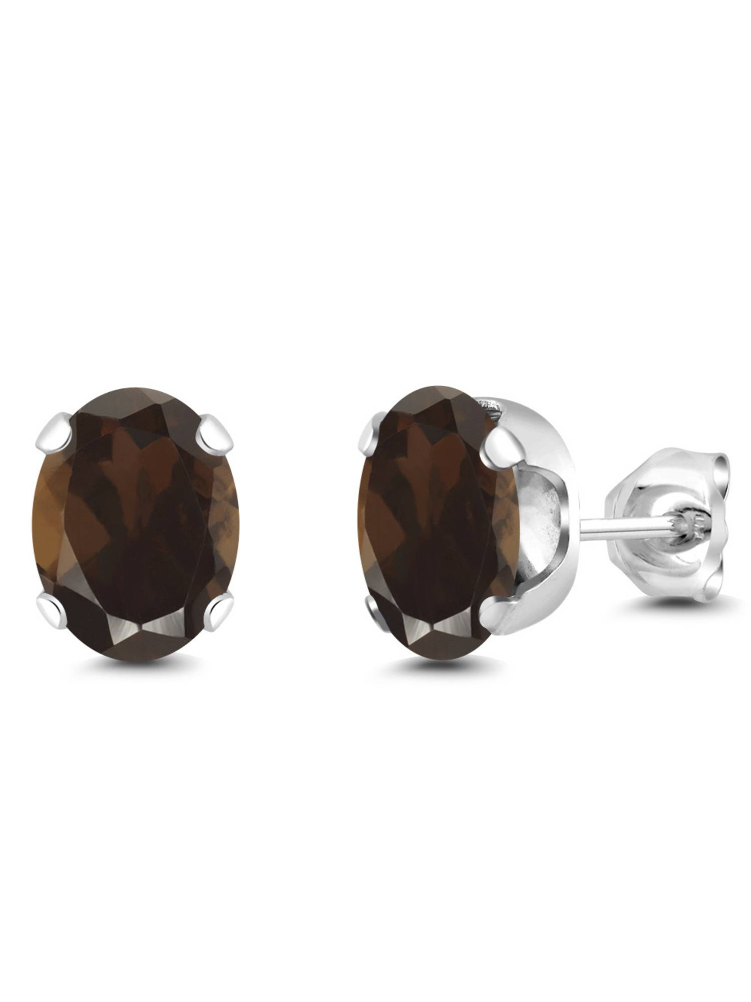 2.40 Ct Large Oval 8x6MM Smoky Quartz 4-prong Stud Earrings