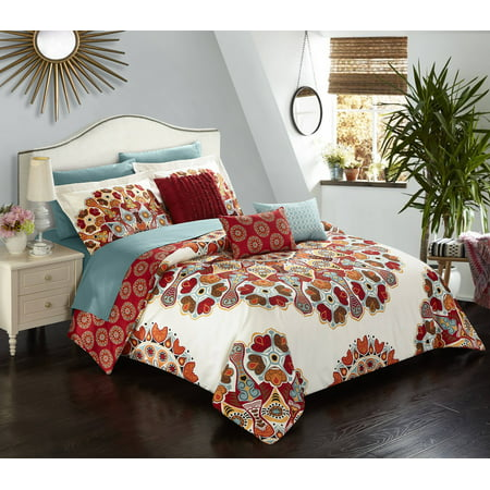 - Chic Home Salisbury 10 Piece Comforter Complete Bed in a Bag Set Microfiber Large Scale Paisley Print with Contemporary Geometric Pattern Bedding with Sheet Sets Decorative Pillows Shams, Queen Red
