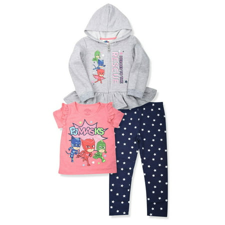 Zip Peplum Hoodie, T-shirt & Leggings, 3pc Outfit Set (Toddler (Toddler Girls Hoodie)