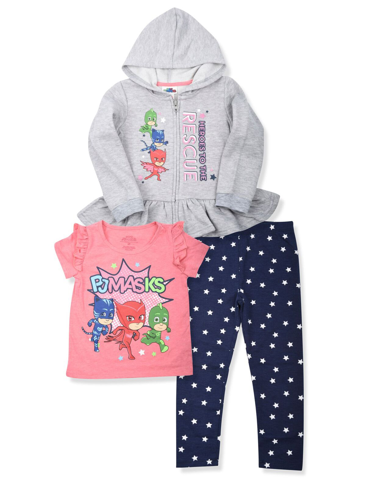Zip Peplum Hoodie, T-shirt & Leggings, 3pc Outfit Set (Toddler Girls)