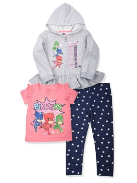 8abeb12d1 Product Image Zip Peplum Hoodie, T-shirt & Leggings, 3pc Outfit Set (Toddler  Girls